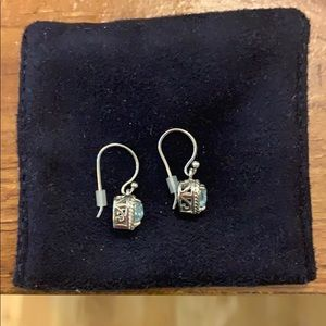 NWOT Aquamarine Heart Earrings (sterling silver)